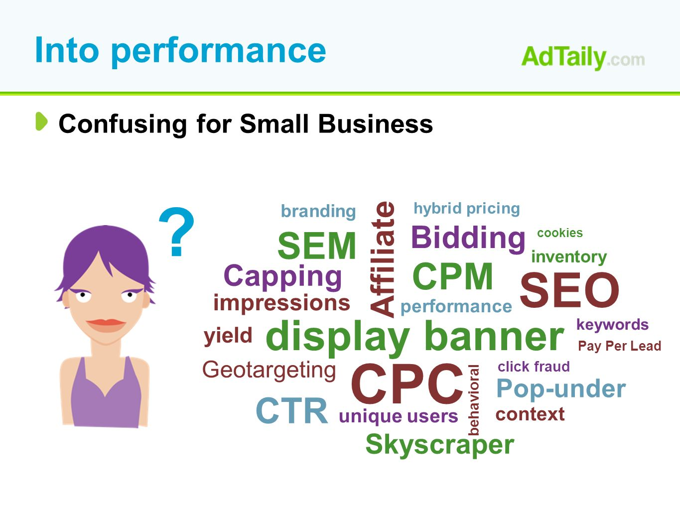 Into performance Confusing for Small Business CPC CPM Capping Affiliate Bidding display banner Geotargeting CTR SEM SEO Pop-under Skyscraper behavioral unique users context impressions performance branding click fraud hybrid pricing inventory keywords Pay Per Lead cookies .