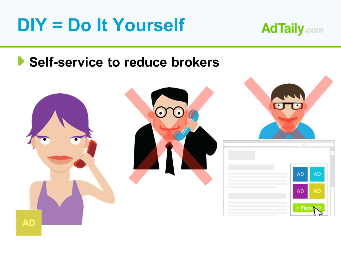 DIY = Do It Yourself Self-service to reduce brokers