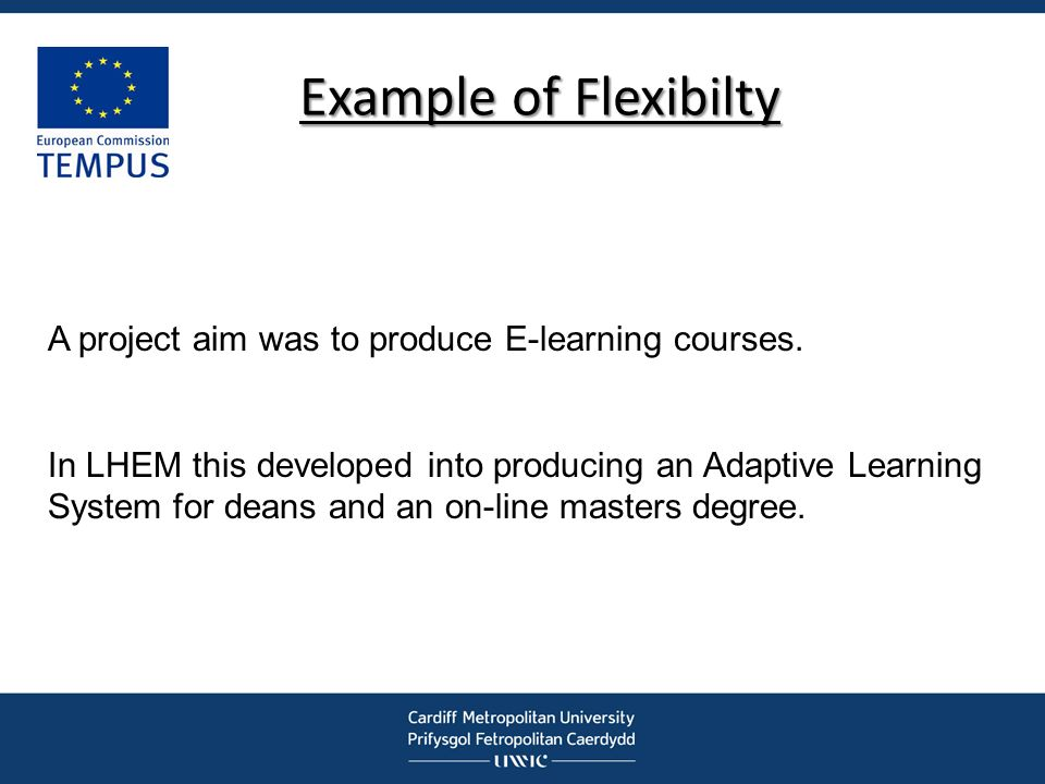 Example of Flexibilty A project aim was to produce E-learning courses. In LHEM this developed into producing an Adaptive Learning System for deans and