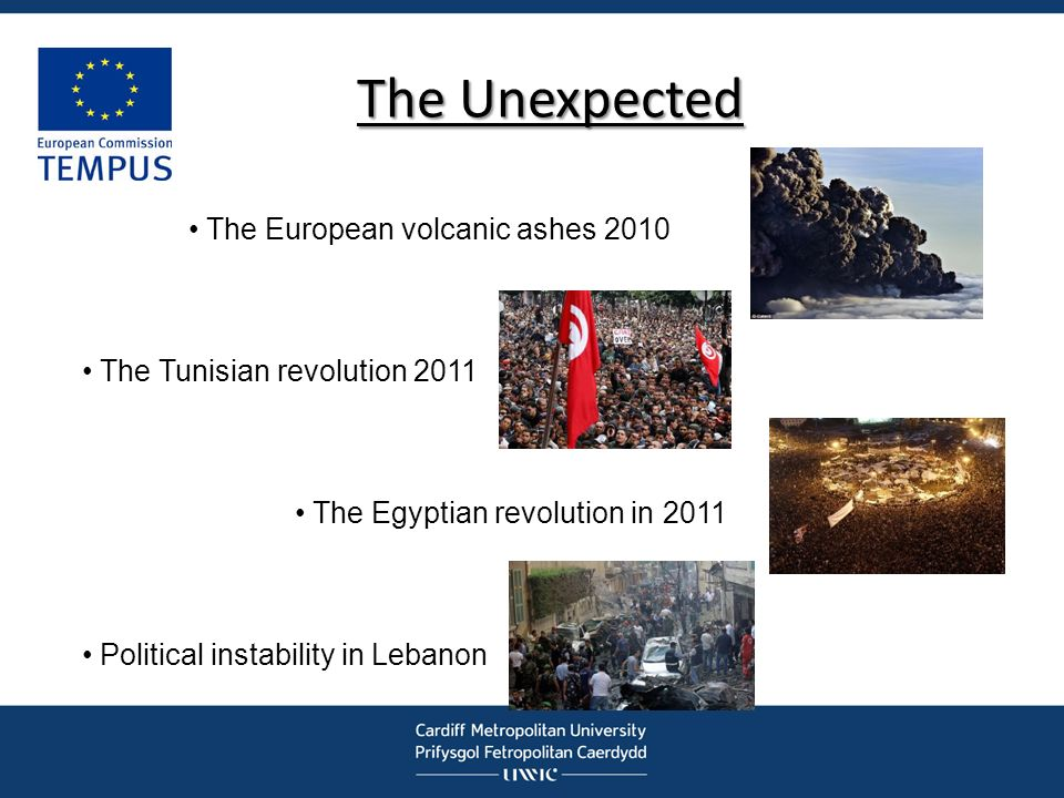 The Unexpected The European volcanic ashes 2010 The Tunisian revolution 2011 The Egyptian revolution in 2011 Political instability in Lebanon
