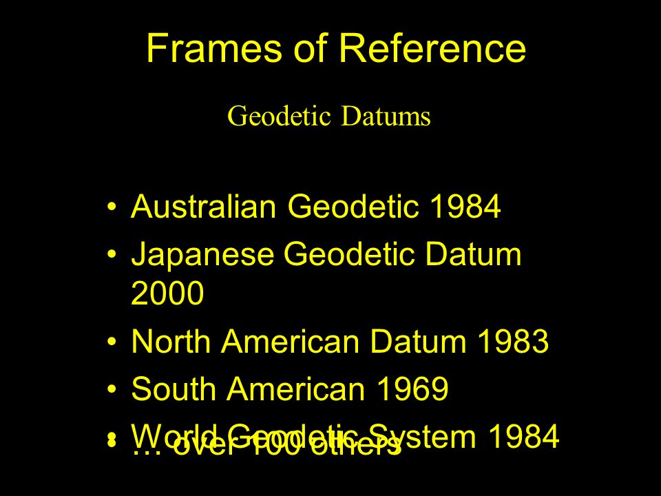 Frames of Reference Australian Geodetic 1984 Japanese Geodetic Datum 2000 North American Datum 1983 South American 1969 World Geodetic System 1984 Geo