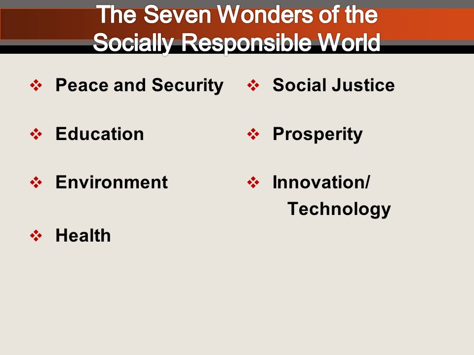Peace and Security Education Environment Health Social Justice Prosperity Innovation/ Technology