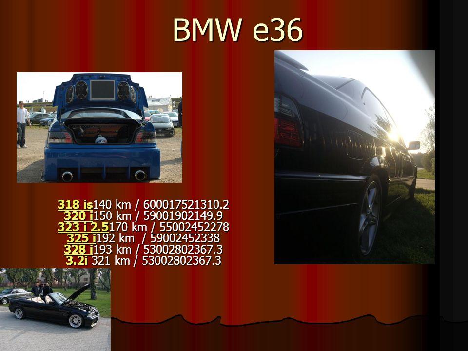 BMW e36 318 is318 is140 km / 600017521310.2 320 i150 km / 59001902149.9 323 i 2.5170 km / 55002452278 325 i192 km / 59002452338 328 i193 km / 53002802367.3 3.2i 321 km / 53002802367.3 320 i 323 i 2.5 325 i 328 i 318 is 320 i 323 i 2.5 325 i 328 i