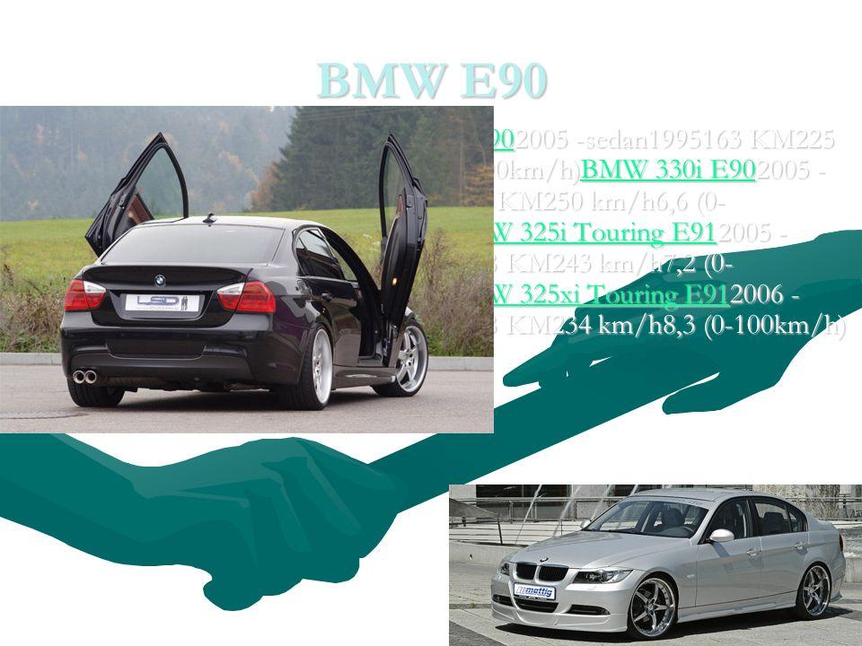 BMW E90 BMW 320d E902005 -sedan1995163 KM225 km/h8,8 (0-100km/h)BMW 330i E902005 - sedan2996258 KM250 km/h6,6 (0- 100km/h)BMW 325i Touring E912005 - kombi2497218 KM243 km/h7,2 (0- 100km/h)BMW 325xi Touring E912006 - kombi2497218 KM234 km/h8,3 (0-100km/h)BMW 320d E902005 -sedan1995163 KM225 km/h8,8 (0-100km/h)BMW 330i E902005 - sedan2996258 KM250 km/h6,6 (0- 100km/h)BMW 325i Touring E912005 - kombi2497218 KM243 km/h7,2 (0- 100km/h)BMW 325xi Touring E912006 - kombi2497218 KM234 km/h8,3 (0-100km/h)BMW 320d E90BMW 330i E90BMW 325i Touring E91BMW 325xi Touring E91BMW 320d E90BMW 330i E90BMW 325i Touring E91BMW 325xi Touring E91