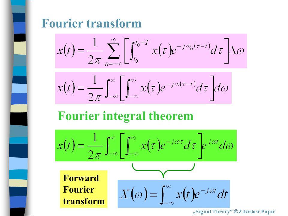 Signal Theory Zdzisław Papir Fourier transform Fourier integral theorem Forward Fourier transform
