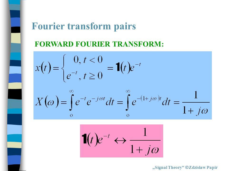 Fourier transform pairs Signal Theory Zdzisław Papir FORWARD FOURIER TRANSFORM: