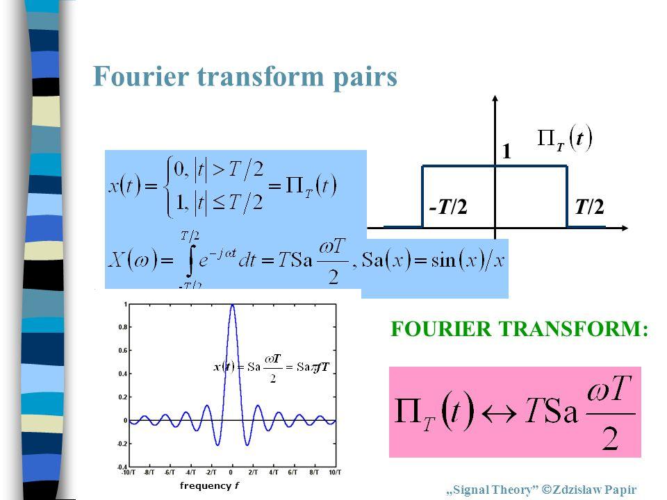 Fourier transform pairs Signal Theory Zdzisław Papir FOURIER TRANSFORM: T/2-T/2 1 frequency f