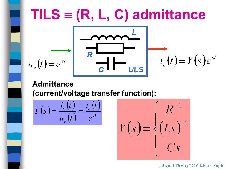 TILS (R, L, C) admittance Admittance (current/voltage transfer function): ULS R C L Signal Theory Zdzisław Papir