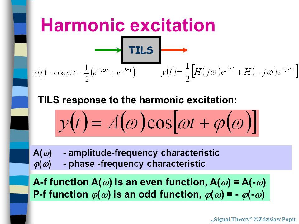 Harmonic excitation TILS TILS response to the harmonic excitation: A( )- amplitude-frequency characteristic ( )- phase -frequency characteristic A-f f