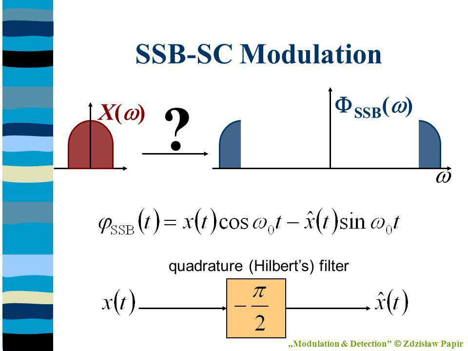 X( ) SSB ( ) SSB-SC Modulation quadrature (Hilberts) filter Modulation & Detection Zdzisław Papir
