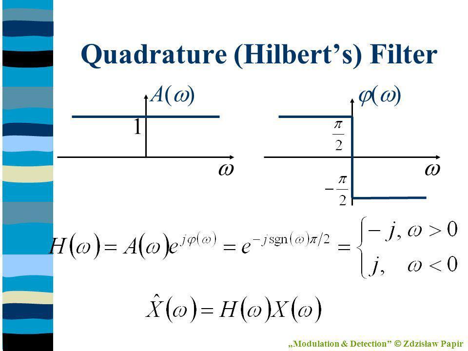 Quadrature (Hilberts) Filter A( ) ( ) 1 Modulation & Detection Zdzisław Papir