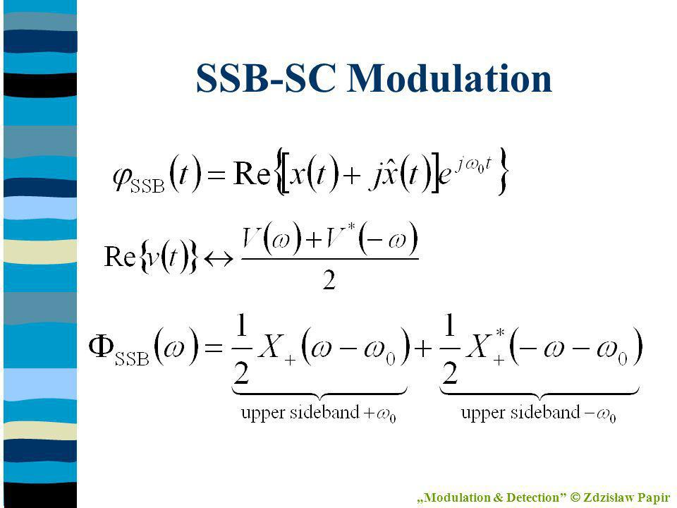 Coherent SSB-SC Detection x cos 0 t Predetection Filter Lowpass Filter ~x(t) Modulation & Detection Zdzisław Papir