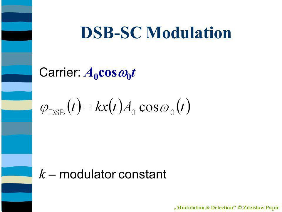 DSB-SC Modulation Carrier: A 0 cos 0 t k – modulator constant Modulation & Detection Zdzisław Papir