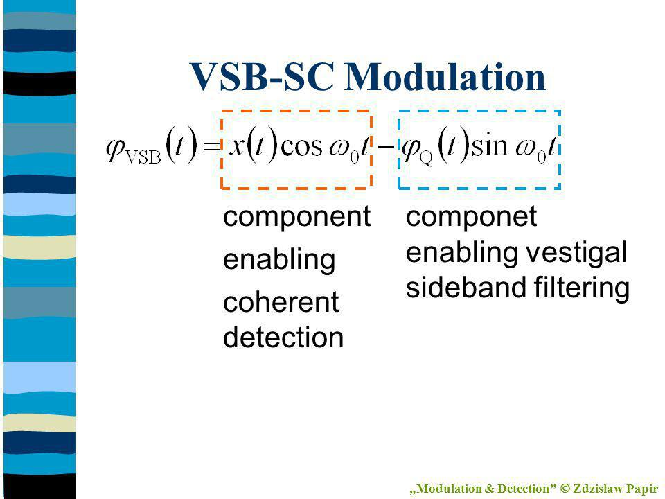 componet enabling vestigal sideband filtering component enabling coherent detection VSB-SC Modulation Modulation & Detection Zdzisław Papir