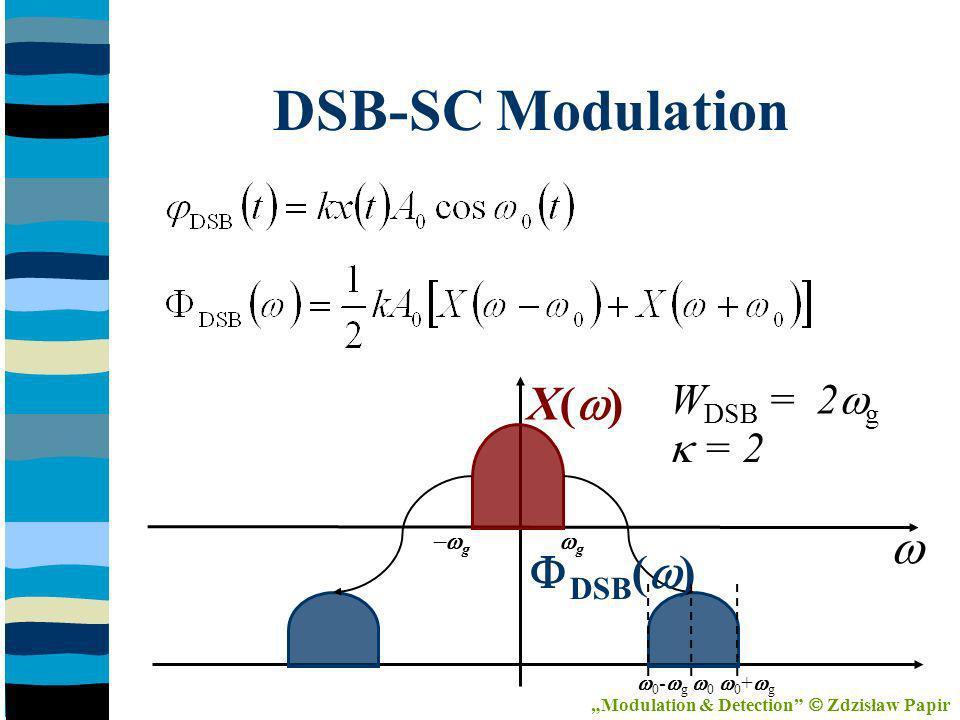 DSB-SC Modulation X( ) DSB ( ) g 0 - g 0 0 + g g W DSB = 2 g = 2 Modulation & Detection Zdzisław Papir