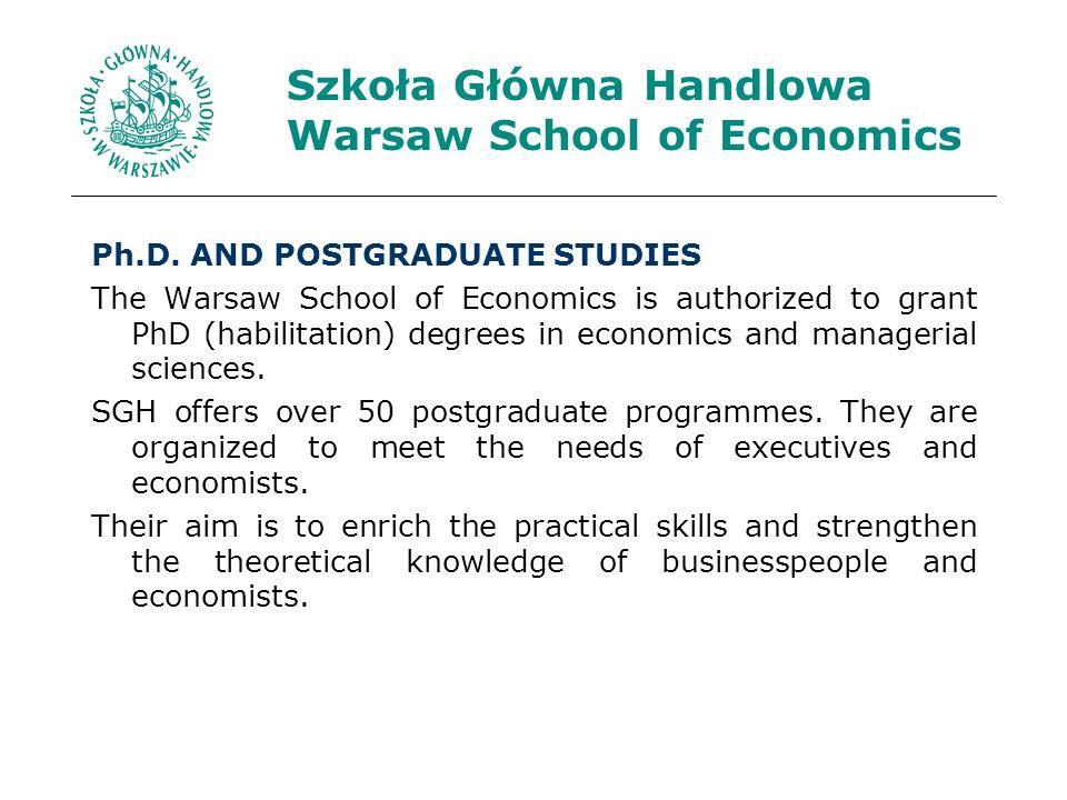Szkoła Główna Handlowa Warsaw School of Economics Ph.D.