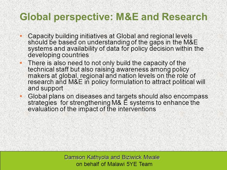 Global perspective: M&E and Research Capacity building initiatives at Global and regional levels should be based on understanding of the gaps in the M