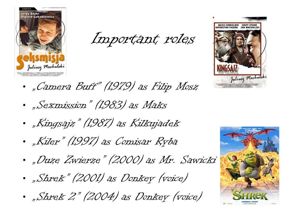 Important roles Camera Buff (1979) as Filip Mosz Sexmission (1983) as Maks Kingsajz (1987) as Kilkujadek Kiler (1997) as Comisar Ryba Duze Zwierze (20