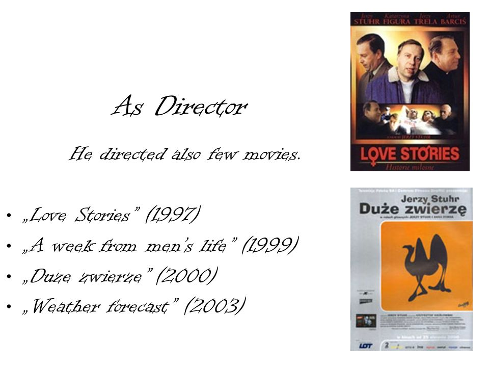 As Director He directed also few movies. Love Stories (1997) A week from mens life (1999) Duze zwierze (2000) Weather forecast (2003)