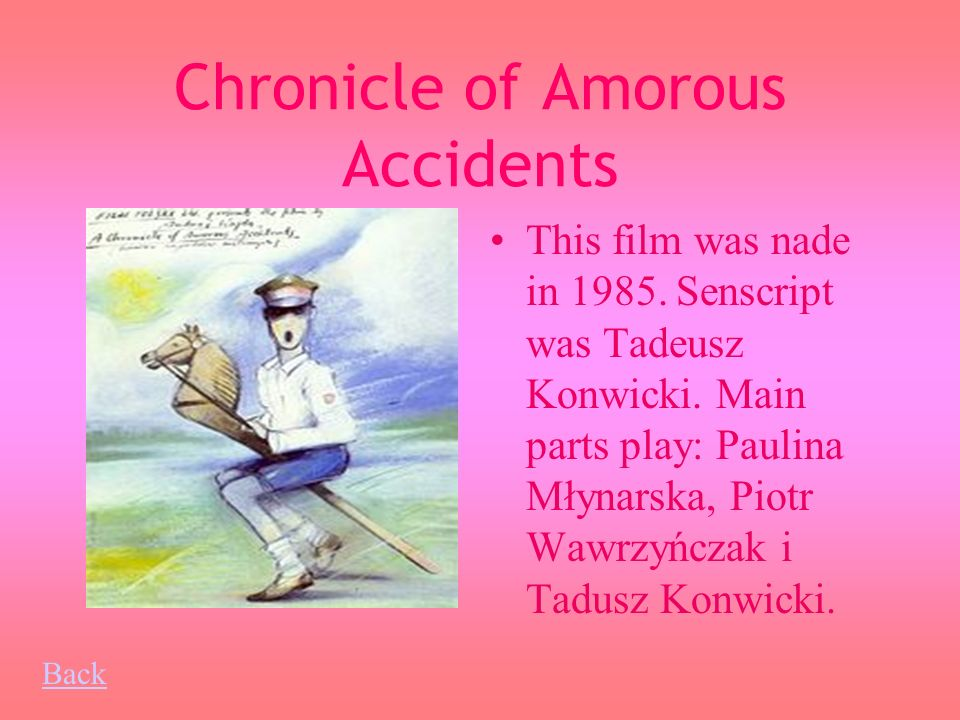 Chronicle of Amorous Accidents This film was nade in 1985.