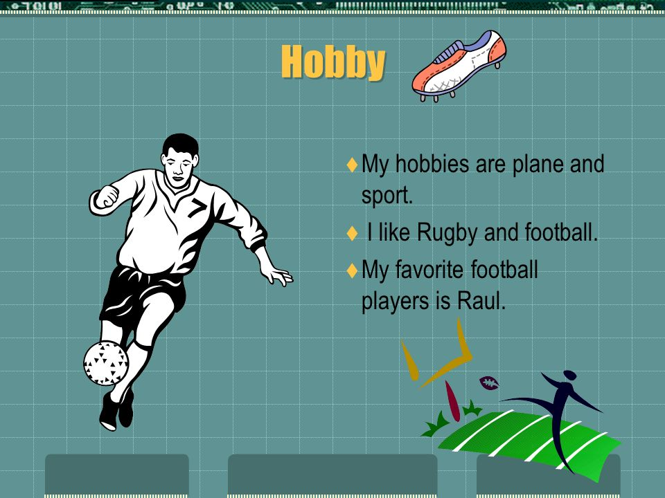 Hobby My hobbies are plane and sport. I like Rugby and football.