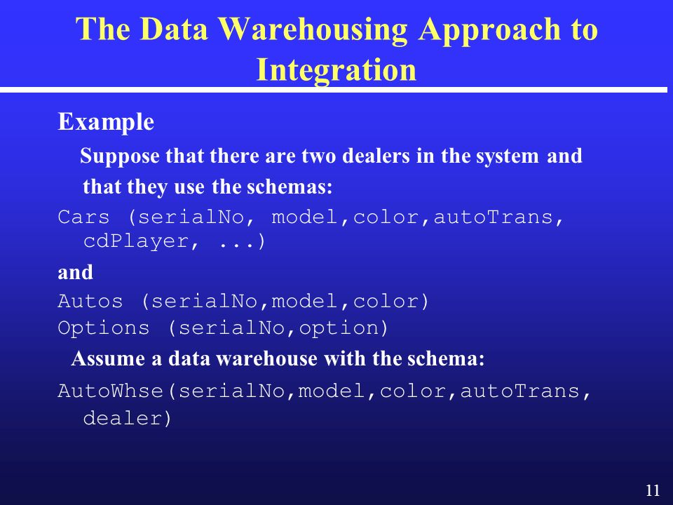 11 The Data Warehousing Approach to Integration Example Suppose that there are two dealers in the system and that they use the schemas: Cars (serialNo, model,color,autoTrans, cdPlayer,...) and Autos (serialNo,model,color) Options (serialNo,option) Assume a data warehouse with the schema: AutoWhse(serialNo,model,color,autoTrans, dealer)