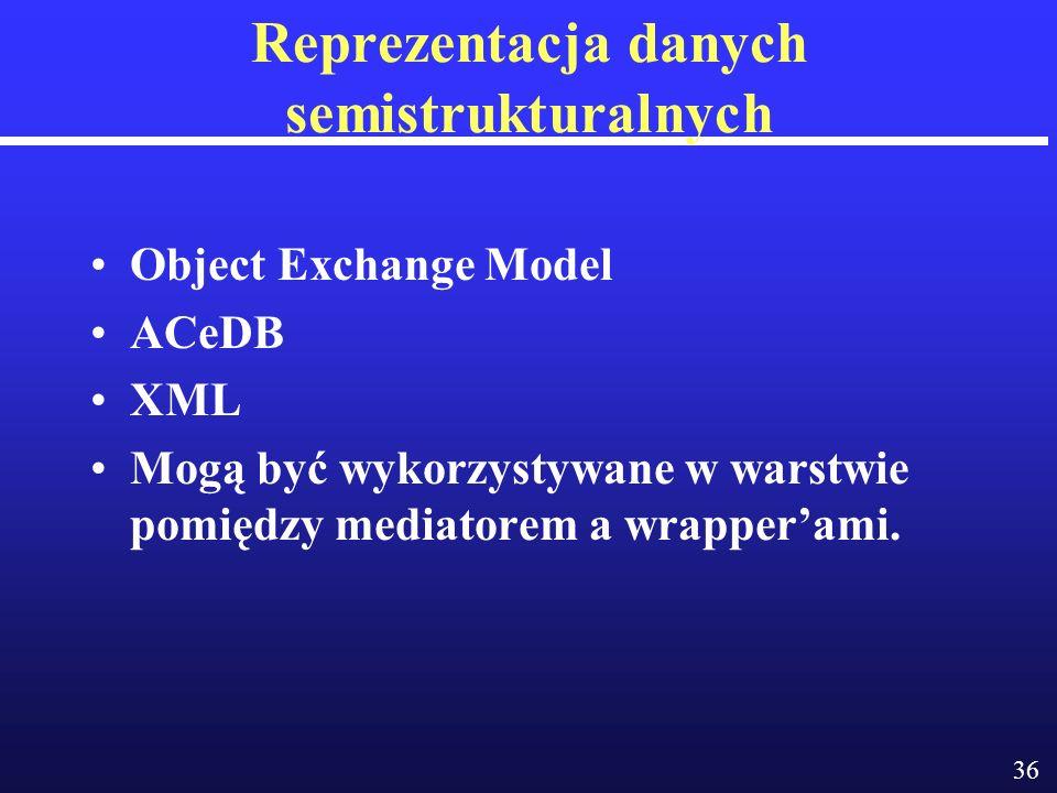 36 Reprezentacja danych semistrukturalnych Object Exchange Model ACeDB XML Mogą być wykorzystywane w warstwie pomiędzy mediatorem a wrapperami.