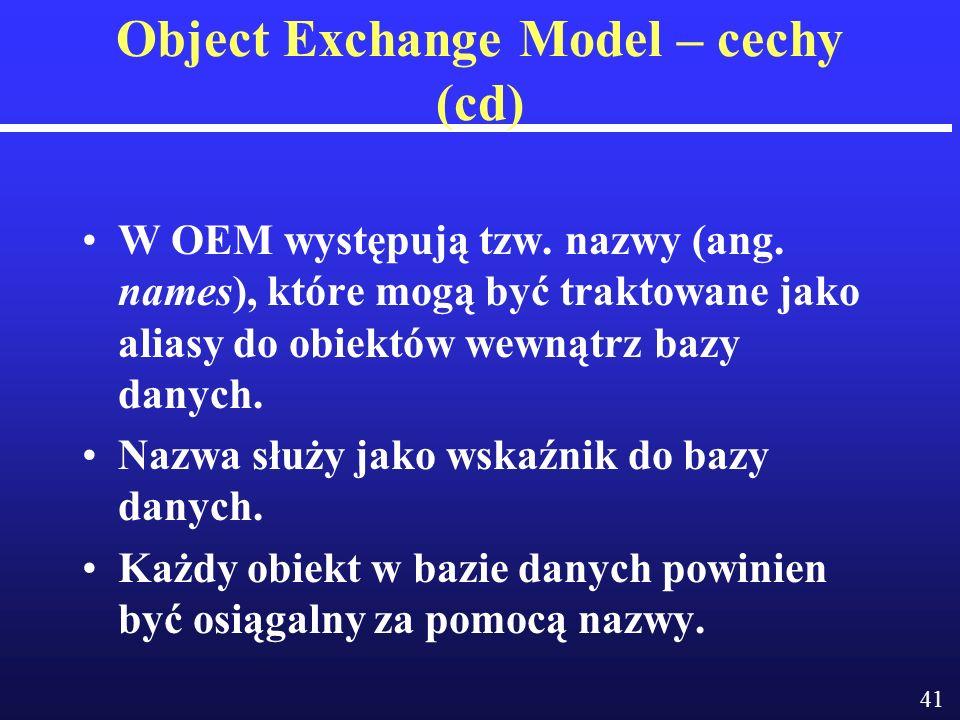 41 Object Exchange Model – cechy (cd) W OEM występują tzw.