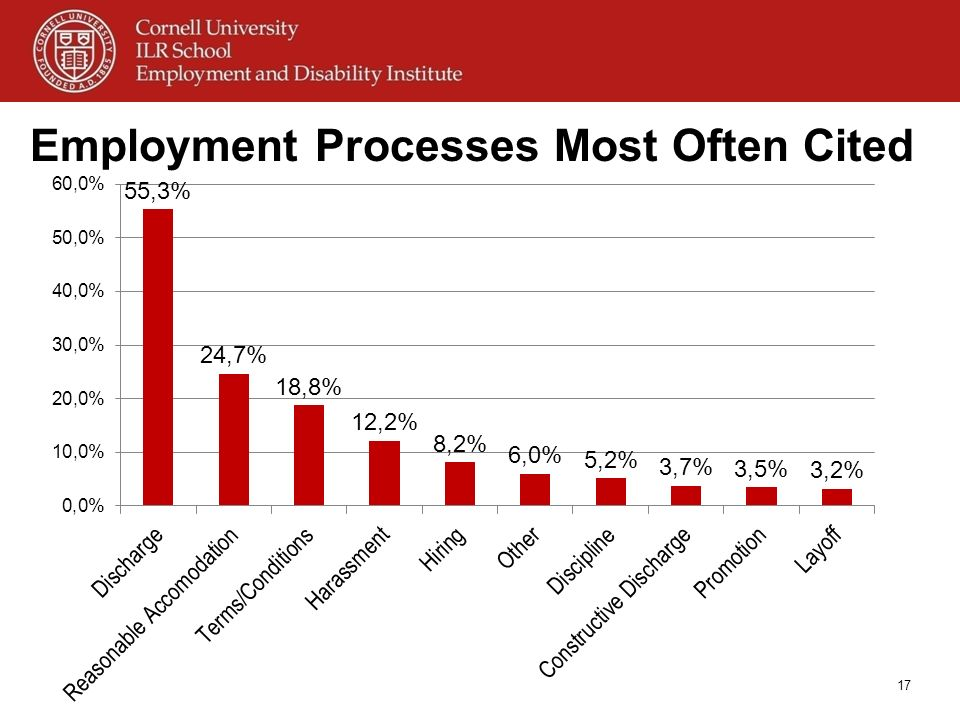 Employment Processes Most Often Cited 17