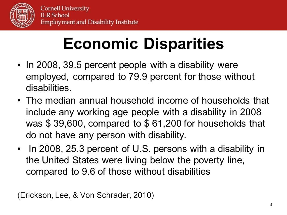 Economic Disparities In 2008, 39.5 percent people with a disability were employed, compared to 79.9 percent for those without disabilities. The median