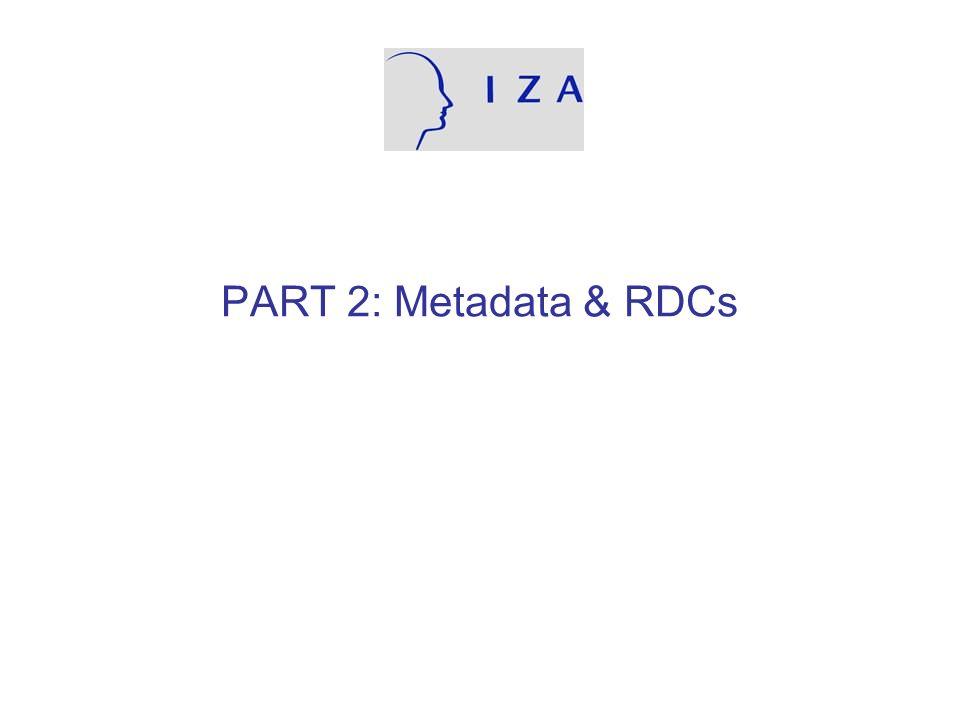 PART 2: Metadata & RDCs