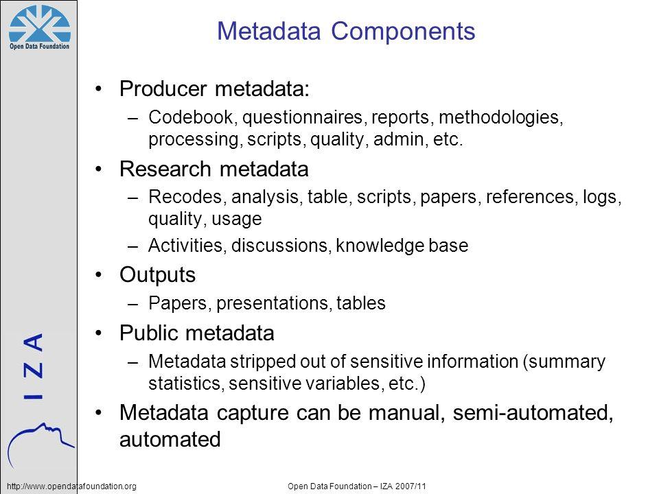 http://www.opendatafoundation.orgOpen Data Foundation – IZA 2007/11 Metadata Components Producer metadata: –Codebook, questionnaires, reports, methodo
