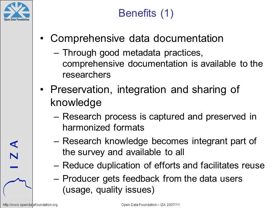 http://www.opendatafoundation.orgOpen Data Foundation – IZA 2007/11 Benefits (1) Comprehensive data documentation –Through good metadata practices, co