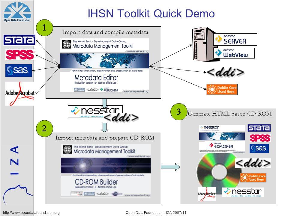 http://www.opendatafoundation.orgOpen Data Foundation – IZA 2007/11 IHSN Toolkit Quick Demo Generate HTML based CD-ROM Import metadata and prepare CD-