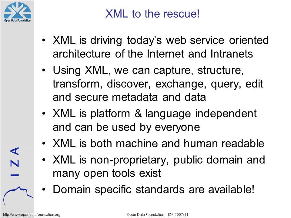 http://www.opendatafoundation.orgOpen Data Foundation – IZA 2007/11 XML Technical Overview Capture XML Structure DTD XSchema Transform XSL, XSLT XSL-FO Discover Registries Databases Exchange Web Services SOAP REST Search XPath XQuery Manage Software XForms