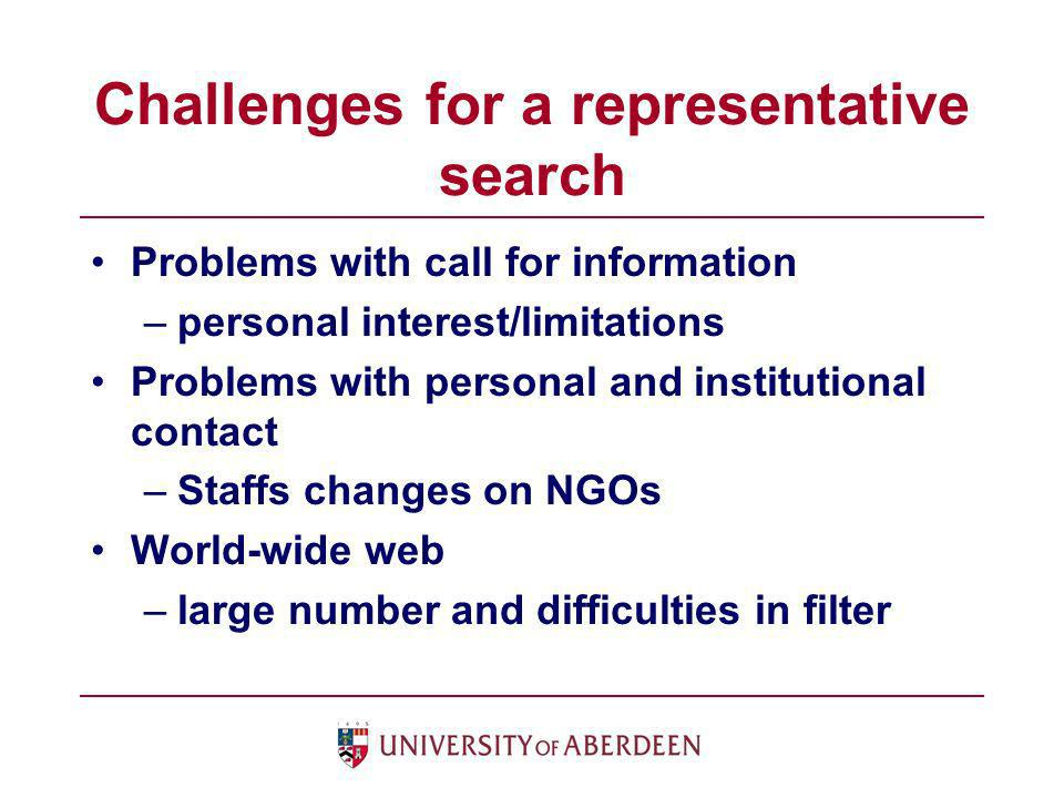 Challenges for a representative search Problems with call for information –personal interest/limitations Problems with personal and institutional cont
