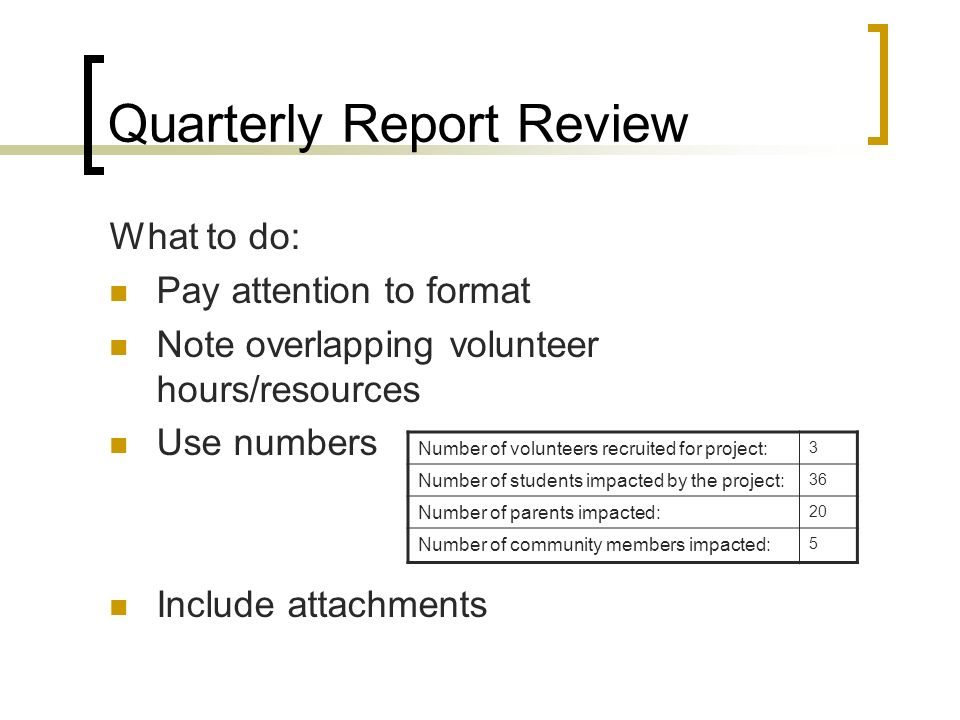 Quarterly Report Review What to do: Pay attention to format Note overlapping volunteer hours/resources Use numbers Include attachments Number of volun