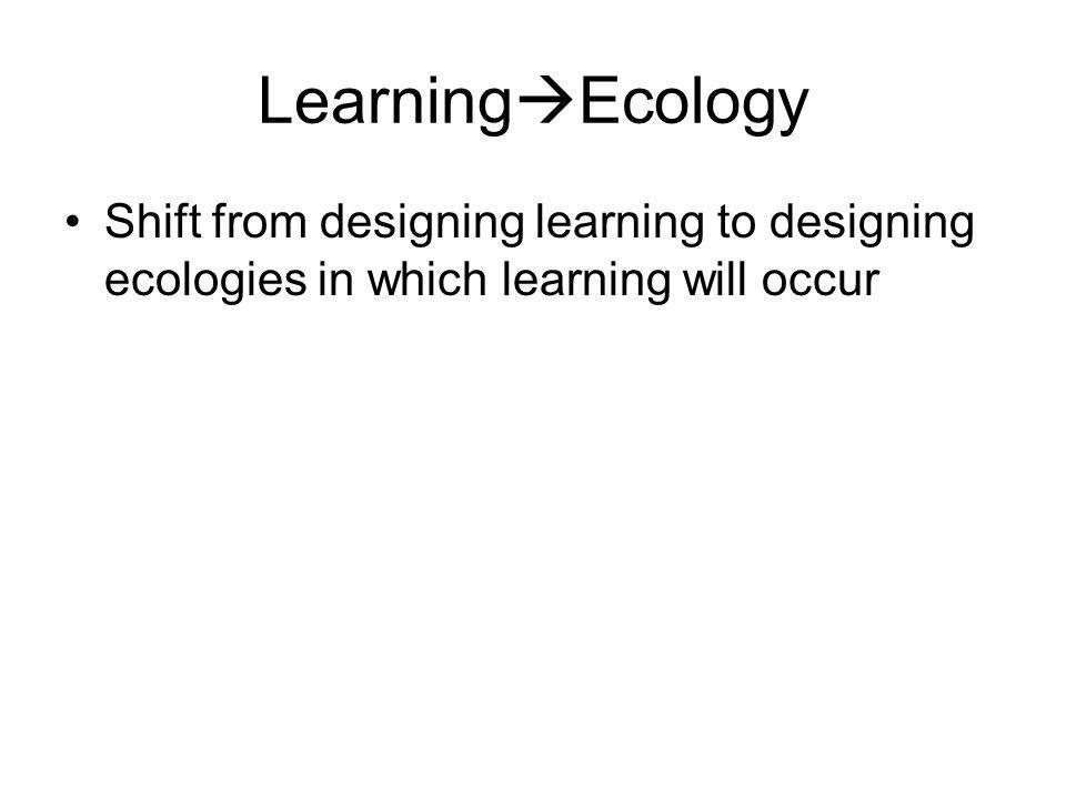 Learning Ecology Shift from designing learning to designing ecologies in which learning will occur