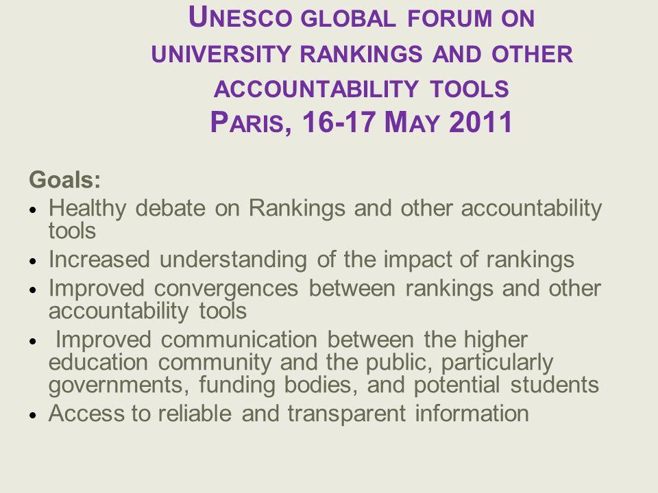 U NESCO GLOBAL FORUM ON UNIVERSITY RANKINGS AND OTHER ACCOUNTABILITY TOOLS P ARIS, 16-17 M AY 2011 Goals: Healthy debate on Rankings and other account