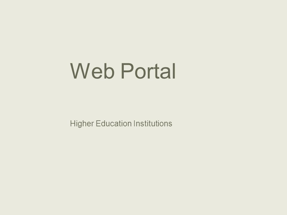 Higher Education Institutions Web Portal