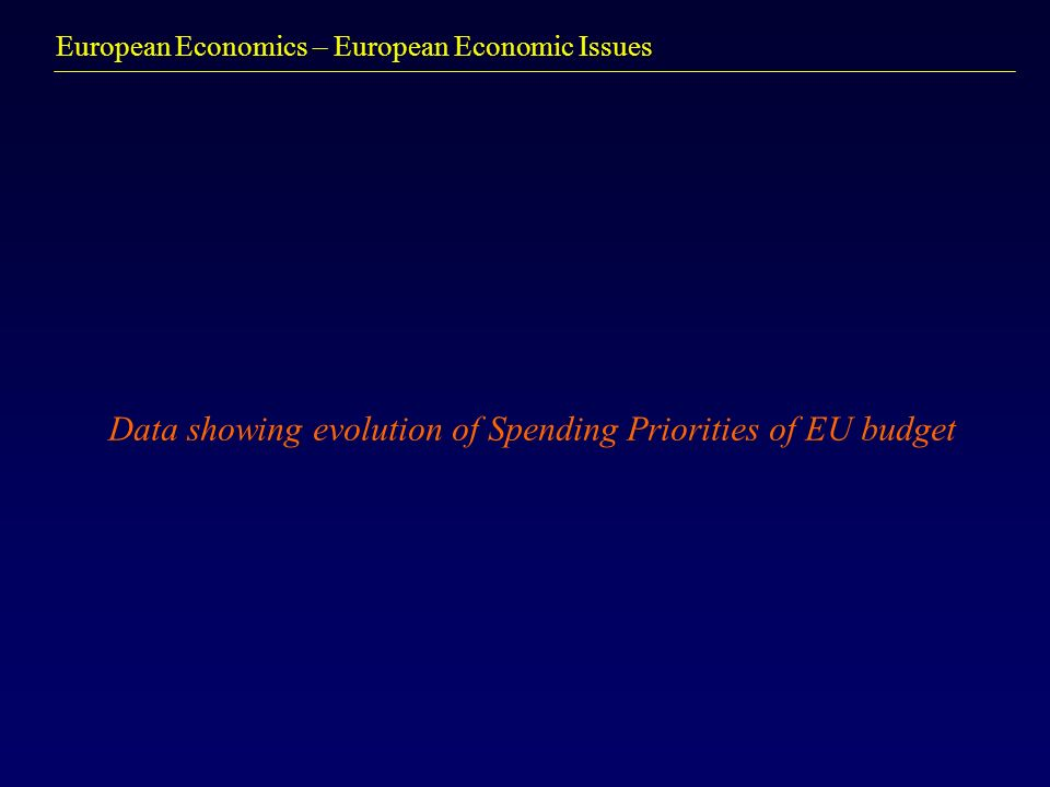European Economics – European Economic Issues Data showing evolution of Spending Priorities of EU budget