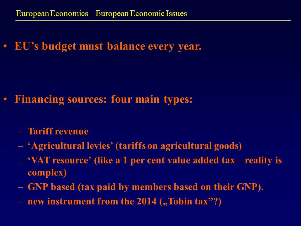 European Economics – European Economic Issues EUs budget must balance every year. Financing sources: four main types: –Tariff revenue –Agricultural le