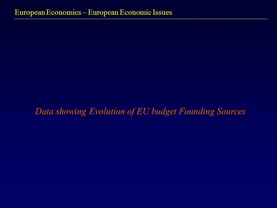 European Economics – European Economic Issues Data showing Evolution of EU budget Founding Sources