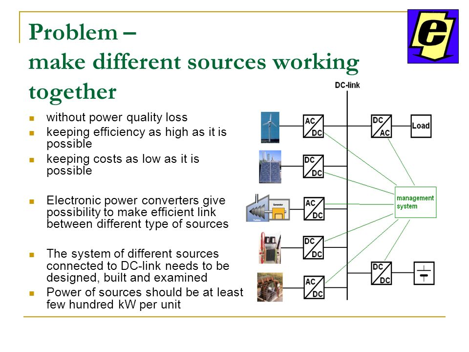Problem – make different sources working together without power quality loss keeping efficiency as high as it is possible keeping costs as low as it is possible Electronic power converters give possibility to make efficient link between different type of sources The system of different sources connected to DC-link needs to be designed, built and examined Power of sources should be at least few hundred kW per unit
