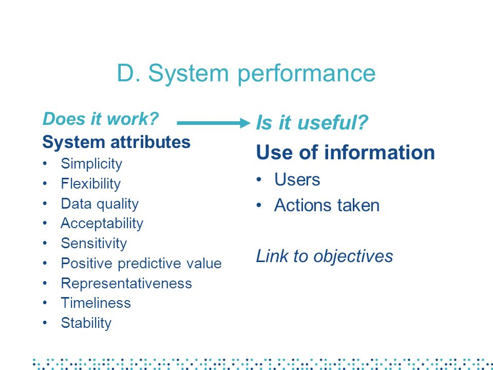 D. System performance Does it work? System attributes Simplicity Flexibility Data quality Acceptability Sensitivity Positive predictive value Represen