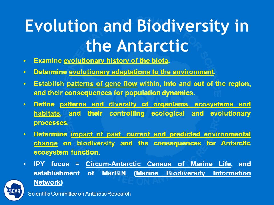 Scientific Committee on Antarctic Research Evolution and Biodiversity in the Antarctic Examine evolutionary history of the biota. Determine evolutiona