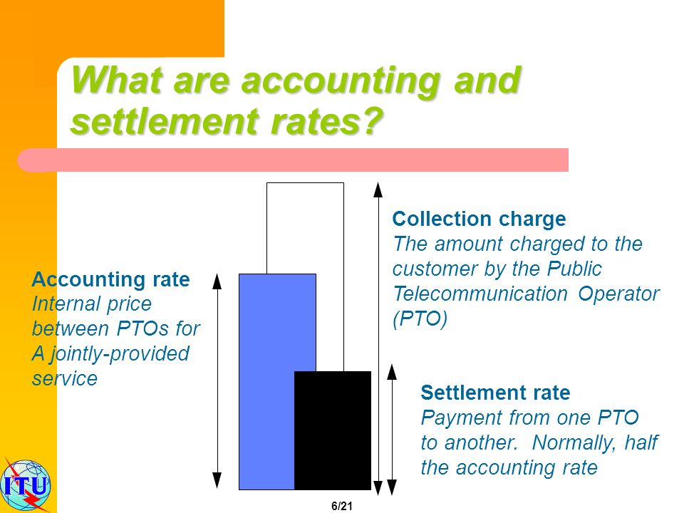 6/21 Collection charge The amount charged to the customer by the Public Telecommunication Operator (PTO) Accounting rate Internal price between PTOs f