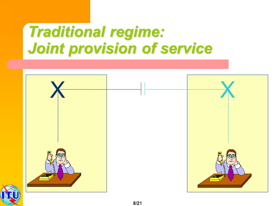 8/21 X X Traditional regime: Joint provision of service
