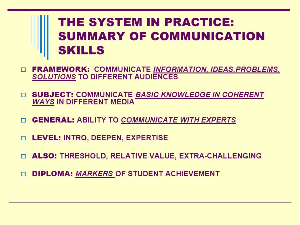THE SYSTEM IN PRACTICE: SUMMARY OF COMMUNICATION SKILLS FRAMEWORK: COMMUNICATE INFORMATION, IDEAS,PROBLEMS, SOLUTIONS TO DIFFERENT AUDIENCES SUBJECT: