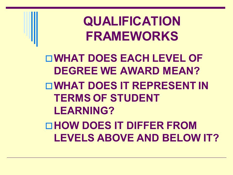 QUALIFICATION FRAMEWORKS WHAT DOES EACH LEVEL OF DEGREE WE AWARD MEAN? WHAT DOES IT REPRESENT IN TERMS OF STUDENT LEARNING? HOW DOES IT DIFFER FROM LE